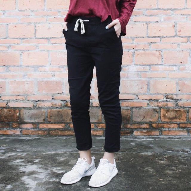 New Cheap Easy Matching Elastic Black Harem Pants