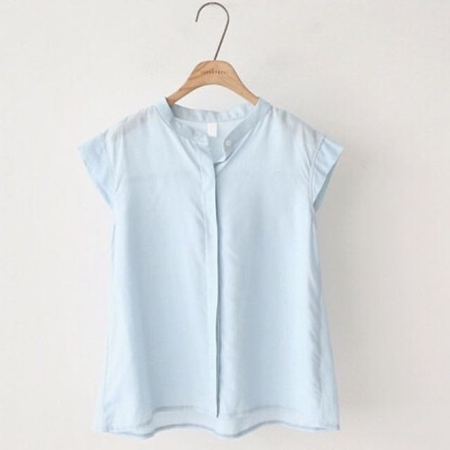 New Korean Style Sleeveless Lapel Blouse