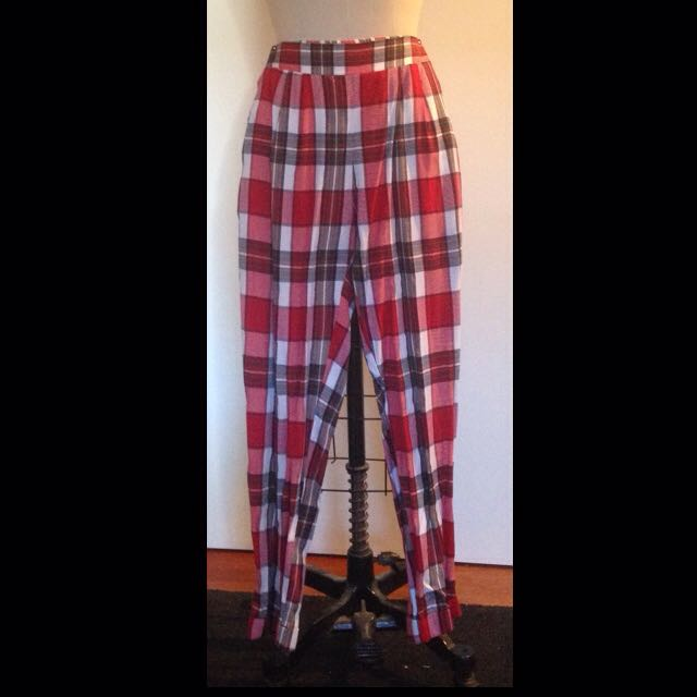 Red/Black White Checked Pants