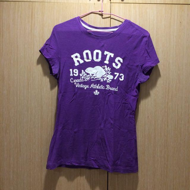 ROOTS logo紫色上衣
