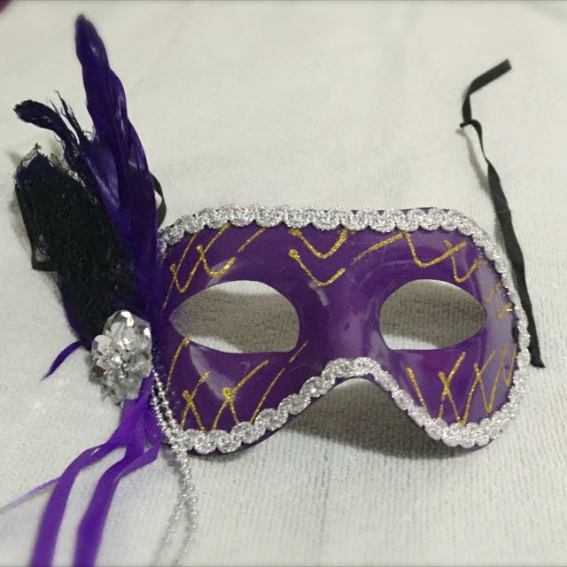 b309bc9f9120 Simple Masquerade Mask In Purple W Feather (OOS), Design & Craft ...