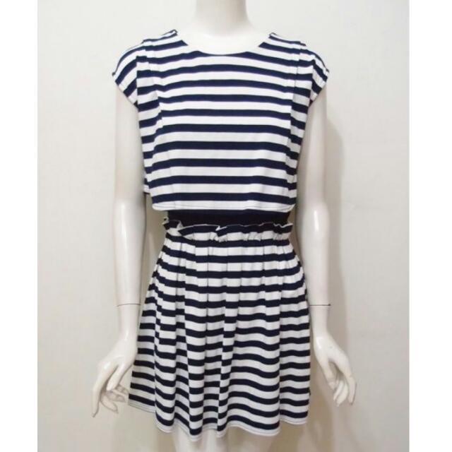 U領連肩短袖收腰壓摺有鬆緊深藍條紋洋裝