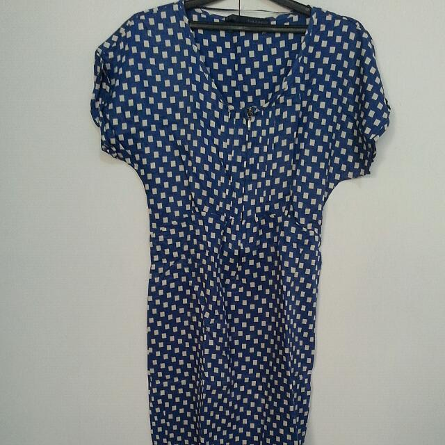 Blue Zara Mini Dres With Pattern
