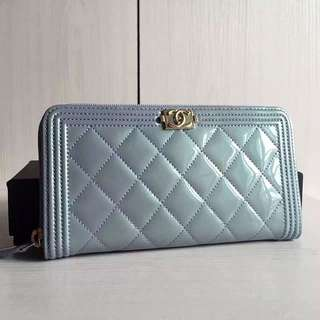 Chanel Boy Patent Leather Zip Wallet