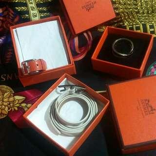 🚚 正品愛馬仕Hermes 橘色皮絲巾環~  H金色絲巾環,白色皮手環,橘色絲巾環,已售