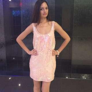 Bebe Soft Pink Sequence Dress