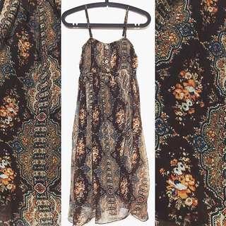 👒古著 日本品牌 民族風洋裝 印花 細肩帶長洋裝