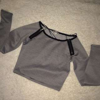 Stripped Cropped Long Sleeve