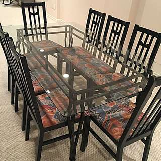 Iron and Glass Dining Table Plus 8 Chairs