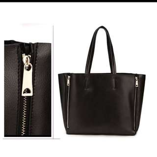 Real Leather Black Tote