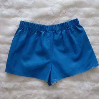💰⬇️BNWT Mossman Bright Blue Retro Look Pleather Mini Shorts