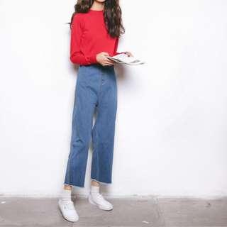 🌟韓國東大門素色女牛仔裤🌟