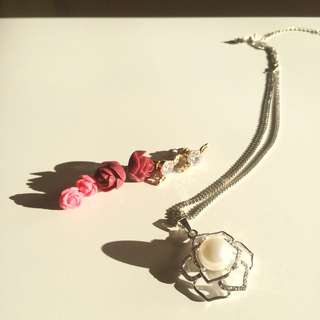 Flower Earrings And Necklace Set
