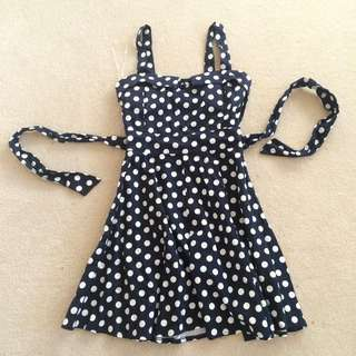 Polka Dot Dress Navy Blue