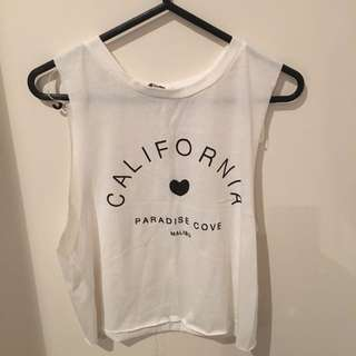 White Cropped Muscle Tee