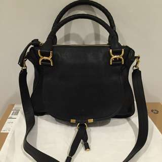 Authentic Still New Chloe Marcie Leather Bag Handbag In Black With Receipt
