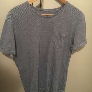 Blue and White Striped Tee M