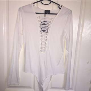 White Lace Up Leotard Top (10)