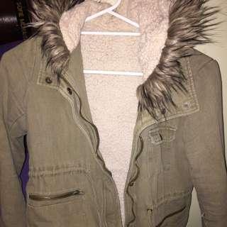Khaki Wooly Winter Coat