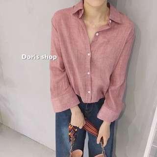 寬袖純色棉麻襯衫 寬松學院風秋裝女上衣韓國韓版休閒長袖襯衣