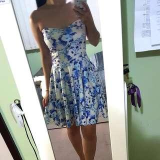BooHoo Floral Strapless Dress