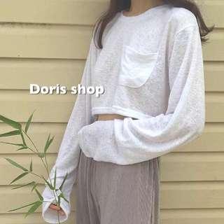 微透長袖短版口袋上衣簡約大碼微透純色白色口袋長袖T卹女韓國寬鬆短款上衣女韓國百搭