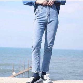 全新專賣❗️Zebra crossing 深藍韓風版高腰修身直筒褲