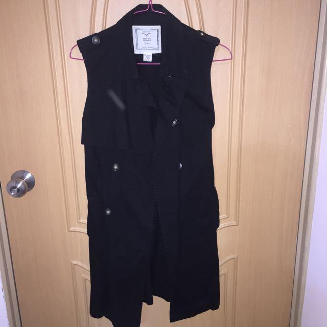 50%黑色無袖背心風衣