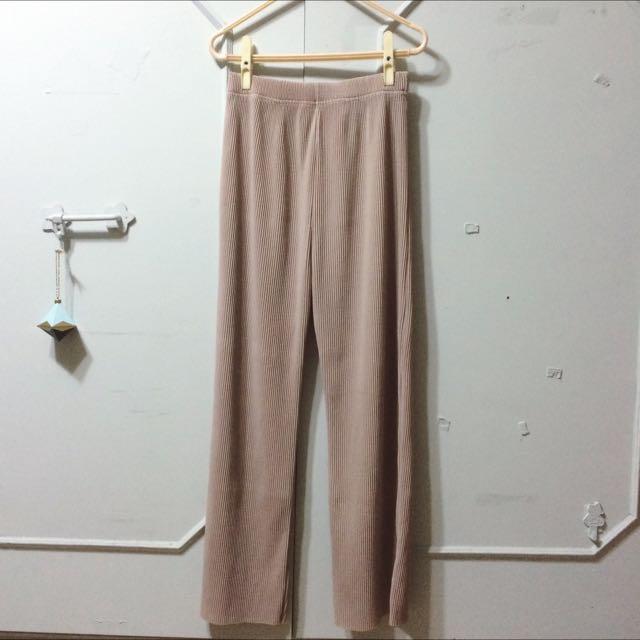 正韓-灰杏色直筒百褶寬褲