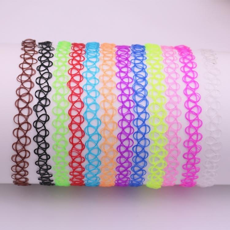 【整套現貨】彩色 刺青感紋身頸鍊 鏤空彈力頸圈 魚線編織項圈 12色