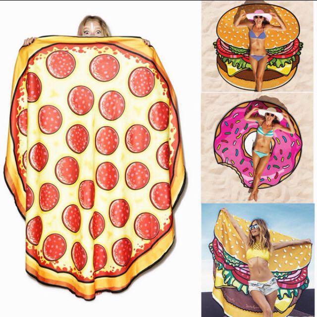 沙灘巾 野餐墊 甜甜圈 漢堡 披薩 西瓜