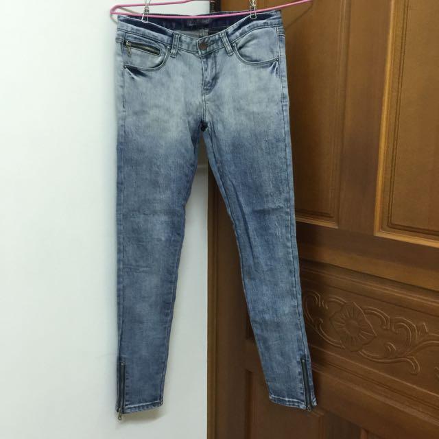 韓製🇰🇷特殊刷色拉鏈九分褲 size27