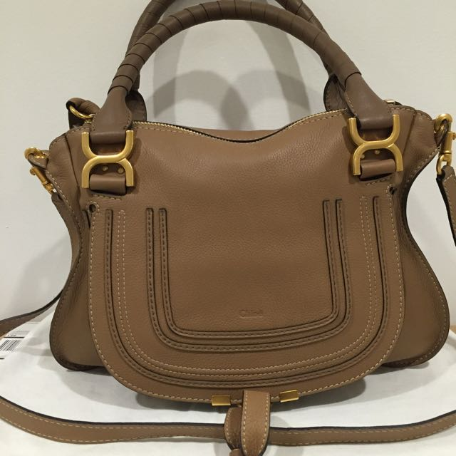 Authentic Still New Chloe Marcie Leather Bag Handbag In Nut