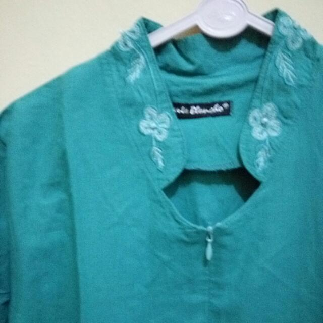 Baju Atasan Bordir Warna Hijau Tosca Women S Fashion Women S