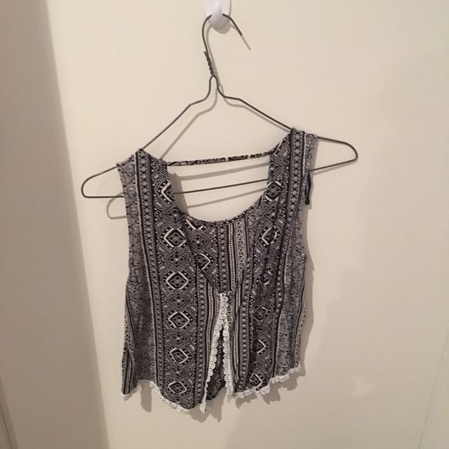 Black And White Patterned Crop