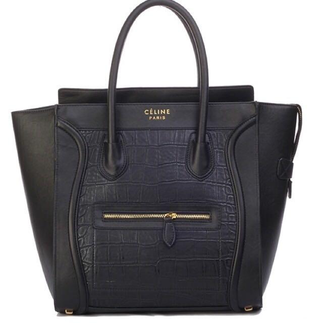 Celina Boston Black Faux Croc Real Leather Handbag Tote