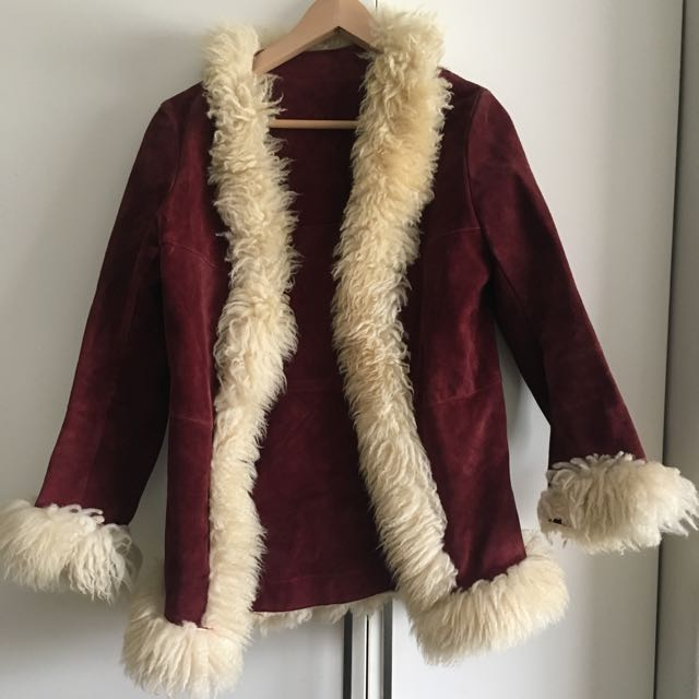 Crimson Red Vintage Real Leather Fur Jacket