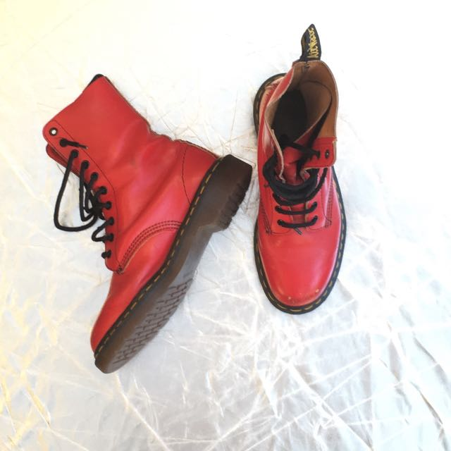Sold- Doc Martin Boots Bright Red Ten Hole