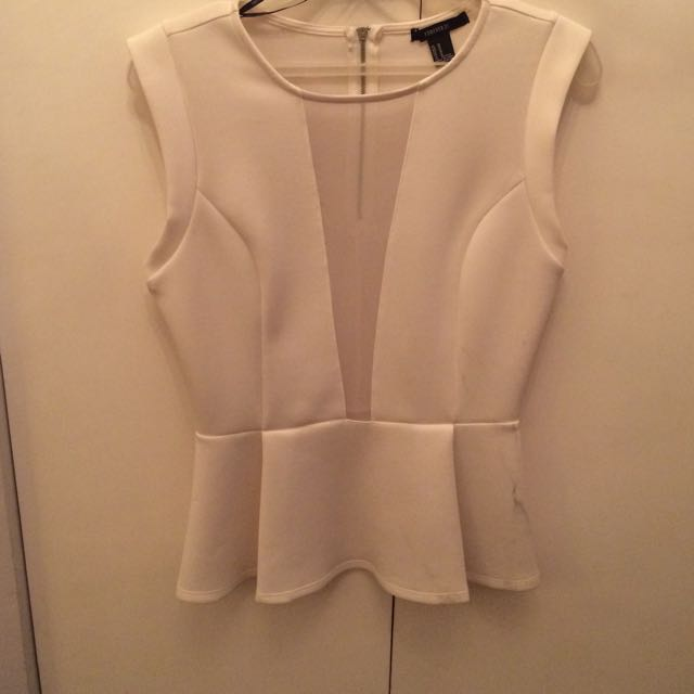 F21 White peplum top
