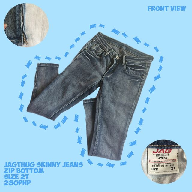 Jagthug Skinny Jeans with Zip Bottom