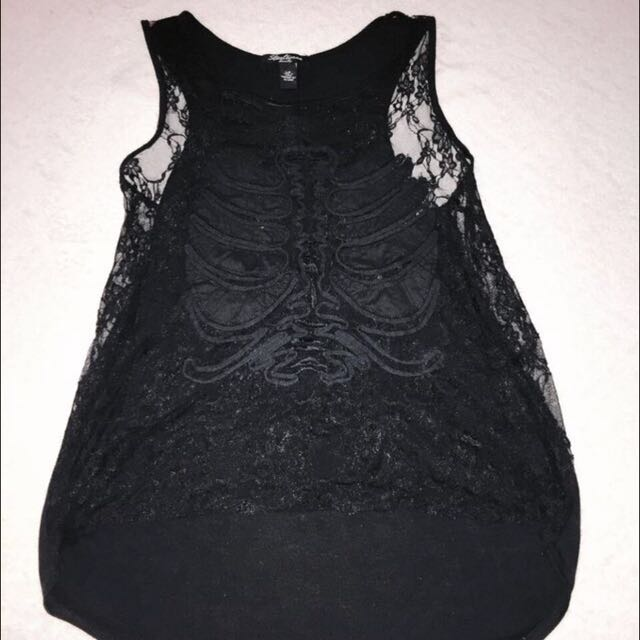 Lace Front Ribcage Design Tank Top