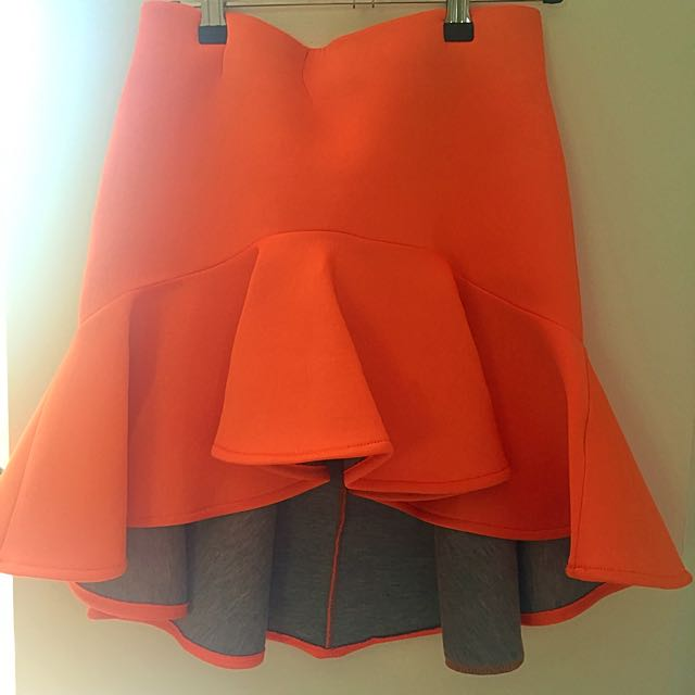Orange High Waisted Party Skirt