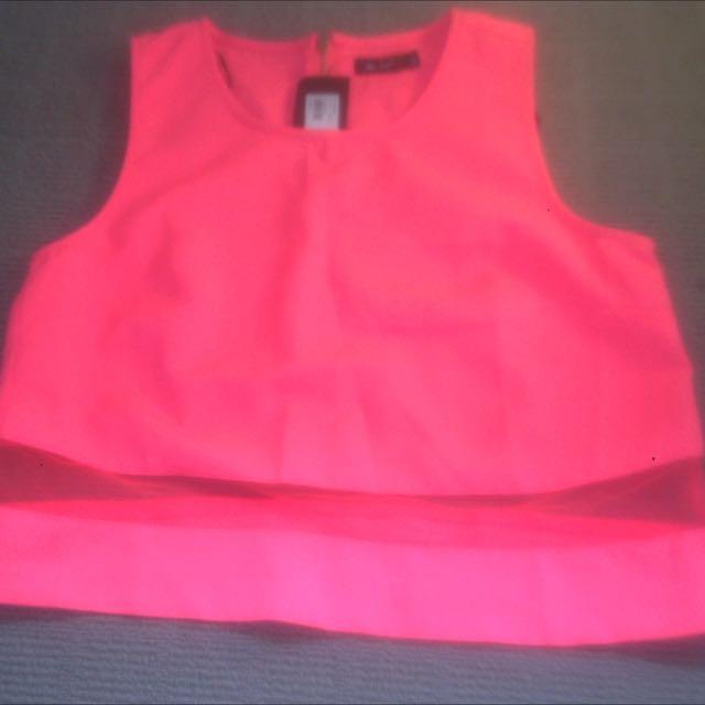 Pink Mesh Crop Size 10