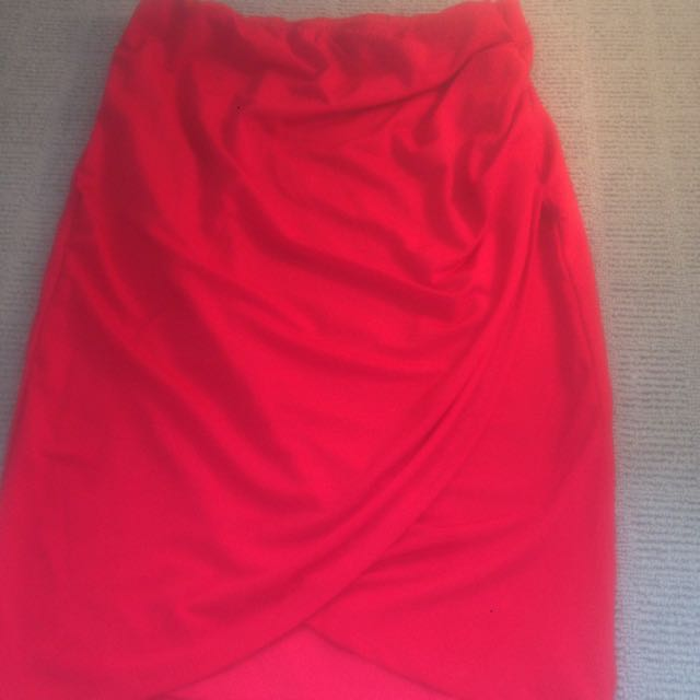 Red Midi Wrap Skirt Size 10
