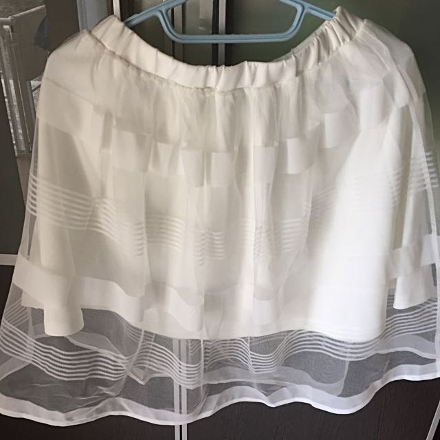 Stradivarius A line Skirt white