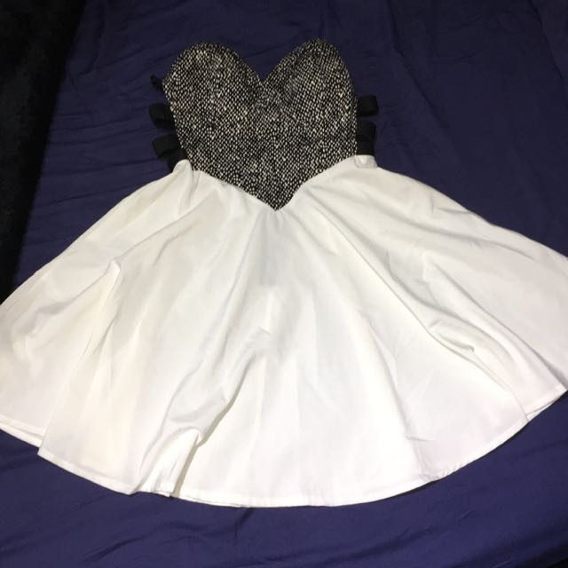 Strapless Cut Out Black And White Skater Dress 10