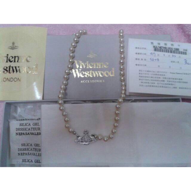 Vivienne Westwood 100%正品滿鑽珍珠土星LOGO項鍊可面交