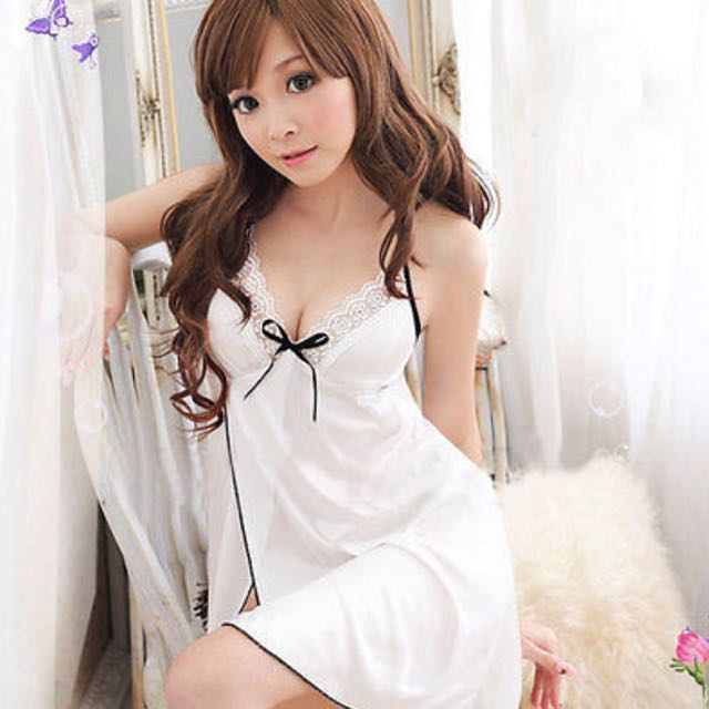 fa2519e9be White Satin Halter Neck Lingerie Lace Chemise Camisole Baby doll ...