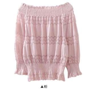Lulus一字領上衣粉色