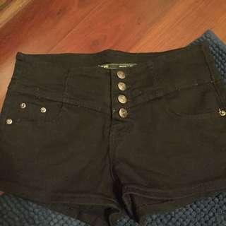 黑色牛仔高腰褲